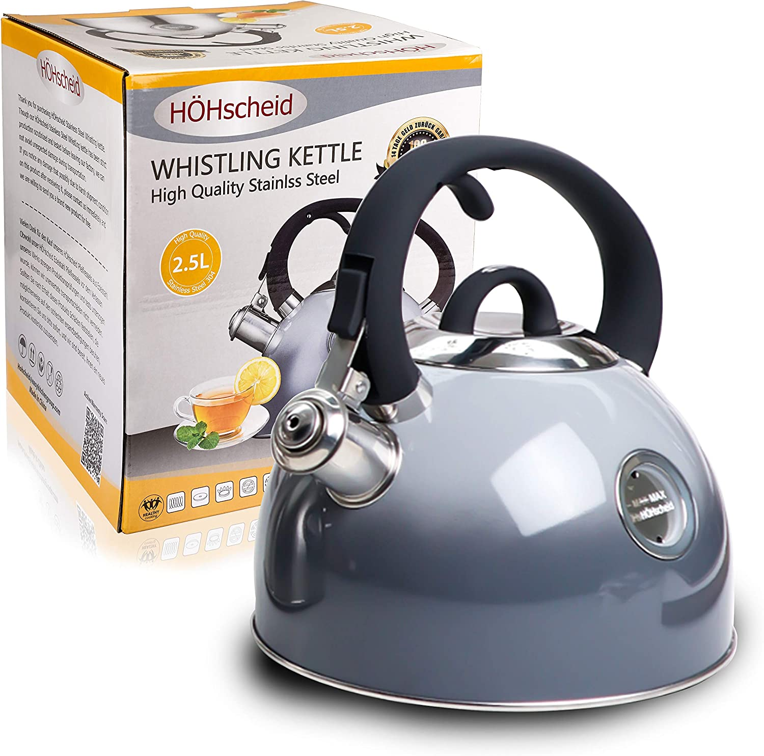 Whistling Kettle, HOHSCHEID 18/10 Food -Grade Stainless Steel Stovetop Tea Kettles, Kettle Body with Visible Window of Maximum Waterline and Tea Pot Ergonomic Cool Handle (Gradient grey)
