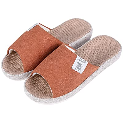 shevalues Women's Indoor House Slippers Summer Linen Home Shoes Open Toe Slip on Cotton House Slippers | Slippers