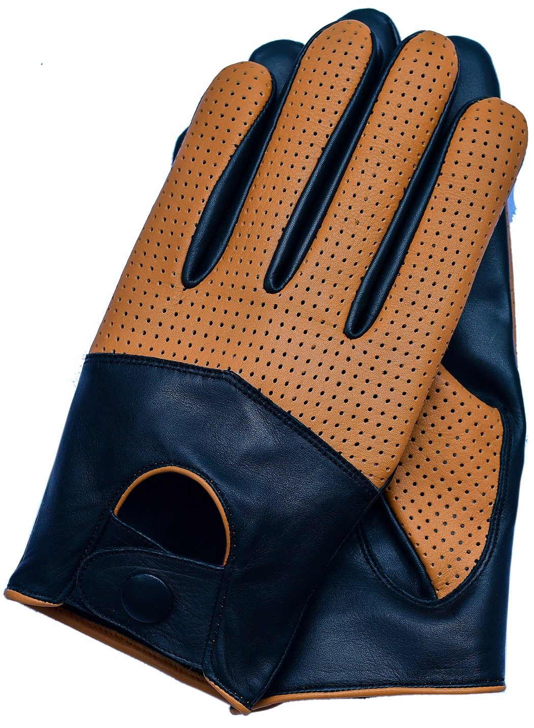 Riparo Men's Touchscreen Texting Half Mesh Perforated Summer Driving Motorcycle Leather Gloves (Small, Black/Cognac)