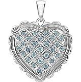 Carissima Gold Women's 18 ct White Gold Blue Topaz Heart Pendant of 2.6 cm/1 inch