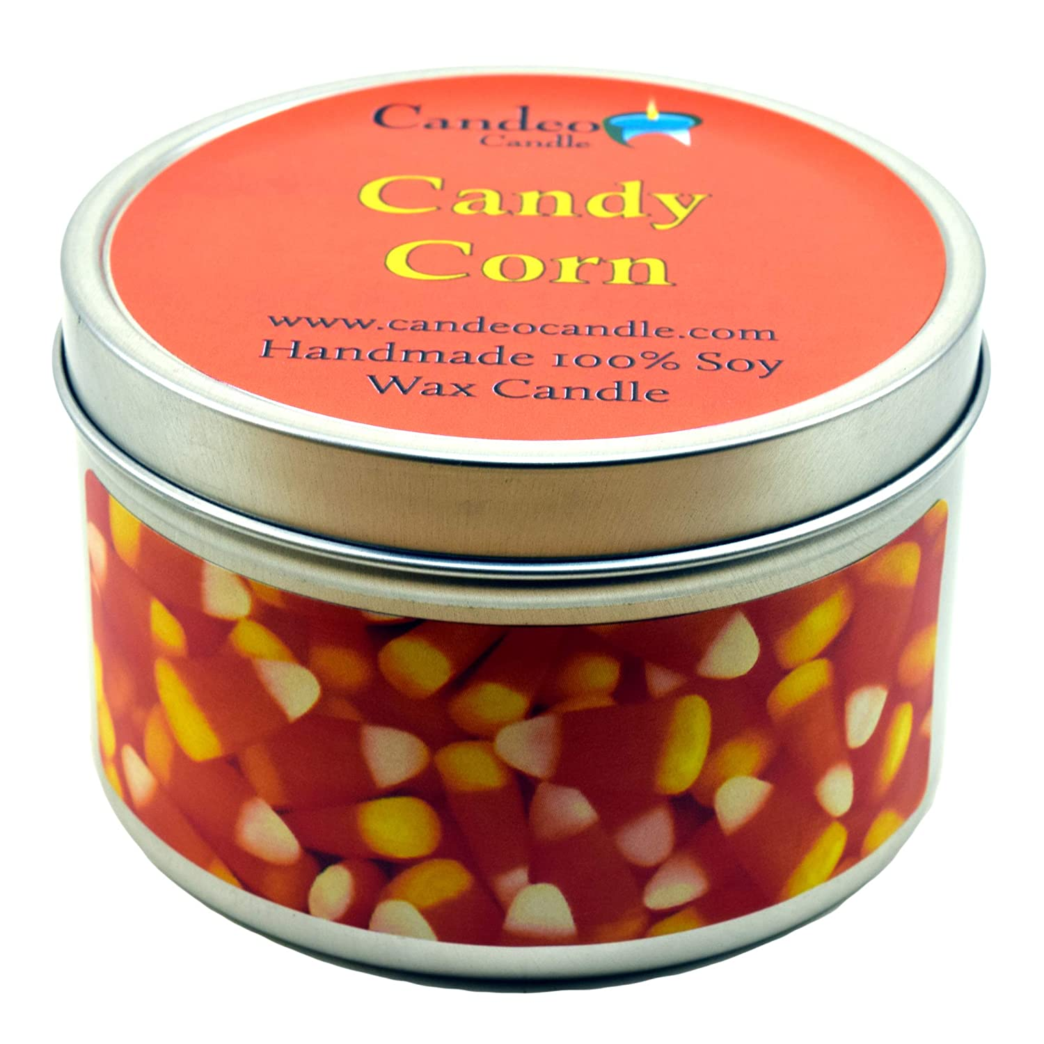Candy Corn, Super Scented Soy Candle Tin (4 oz) Candeo Candle 5420