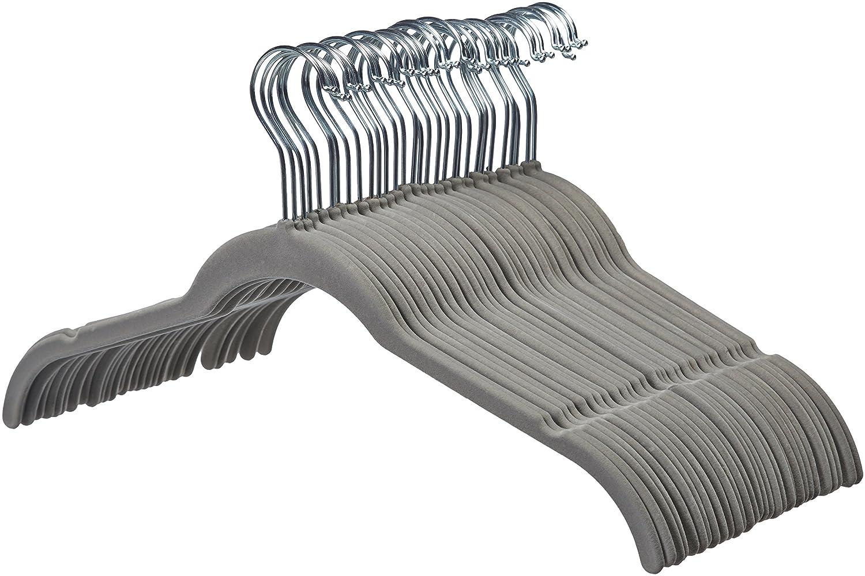 AmazonBasics - Perchas de terciopelo para camisas/vestidos - Paquete de 30, Negro: Amazon.es: Hogar