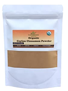 Ceylon Flavors Organic Ceylon Cinnamon Powder, Premium Special Grade, Non GMO, Harvested & Packed from a USDA Certified Organic Farm in Sri Lanka (3.5 Ounce)