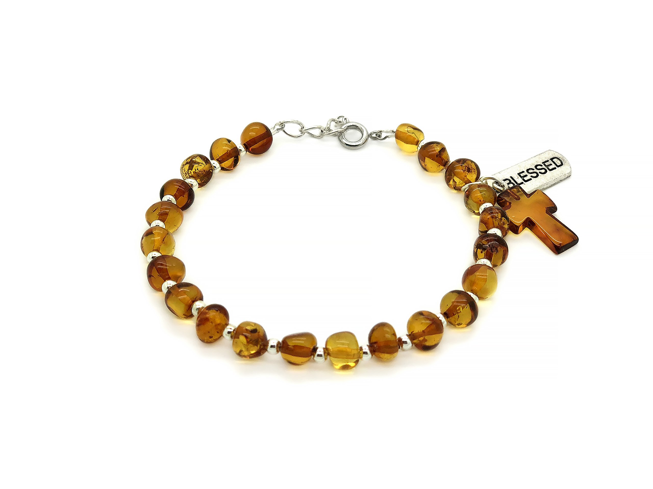 Genuine Cognac Amber Strand Bracelet with Amber Cross and Blessed Lucky Charm.