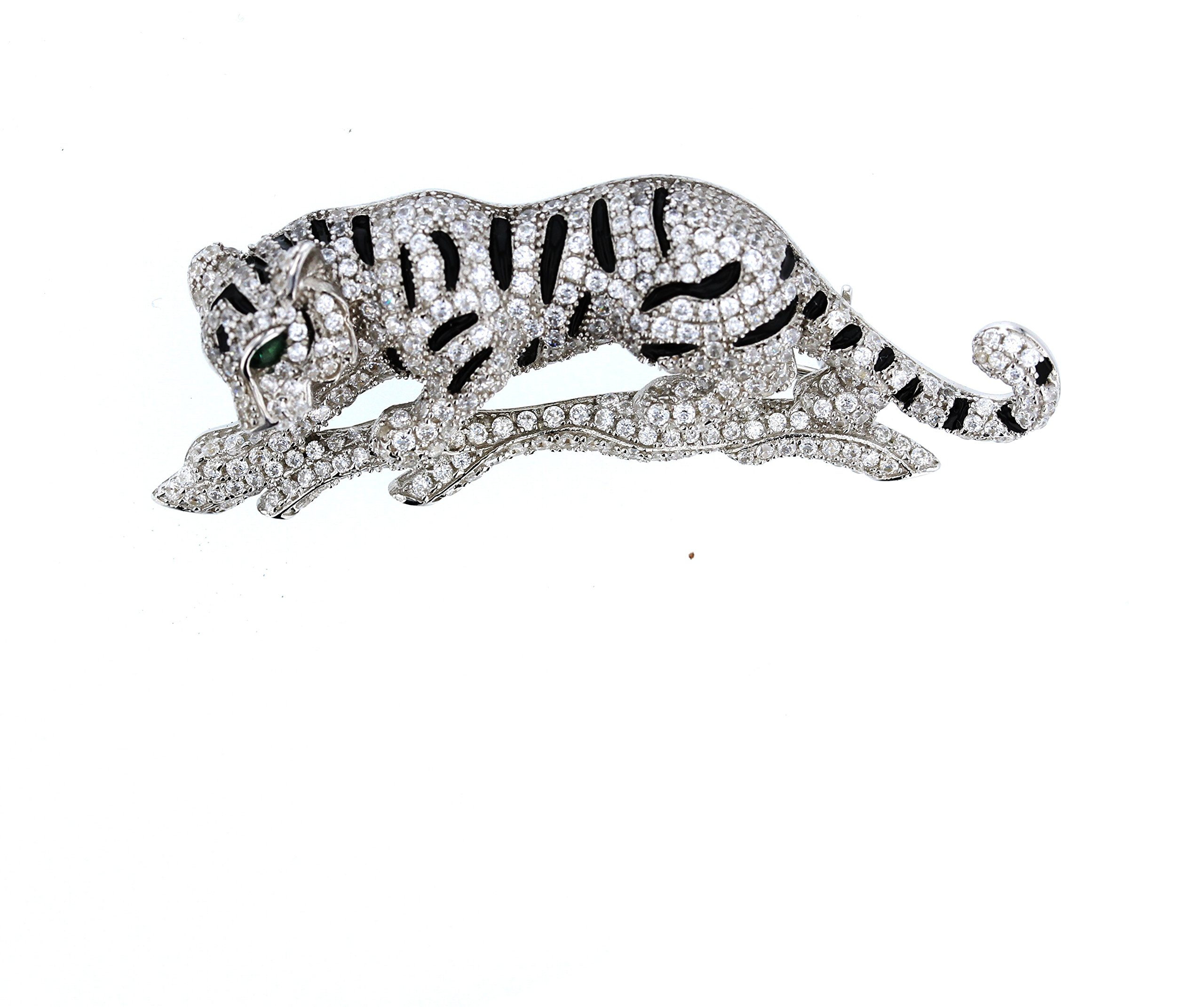 Panther Brooche/Pin , Vintage Sterling Silver and Cubic Zirconia Brooche