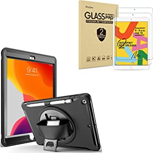 ProCase iPad 10.2 Case 2019 7th Generation iPad Case Rugged Heavy Duty Bundle with 2 Pack iPad 10.2 7th Gen Tempered Glass Screen Protector