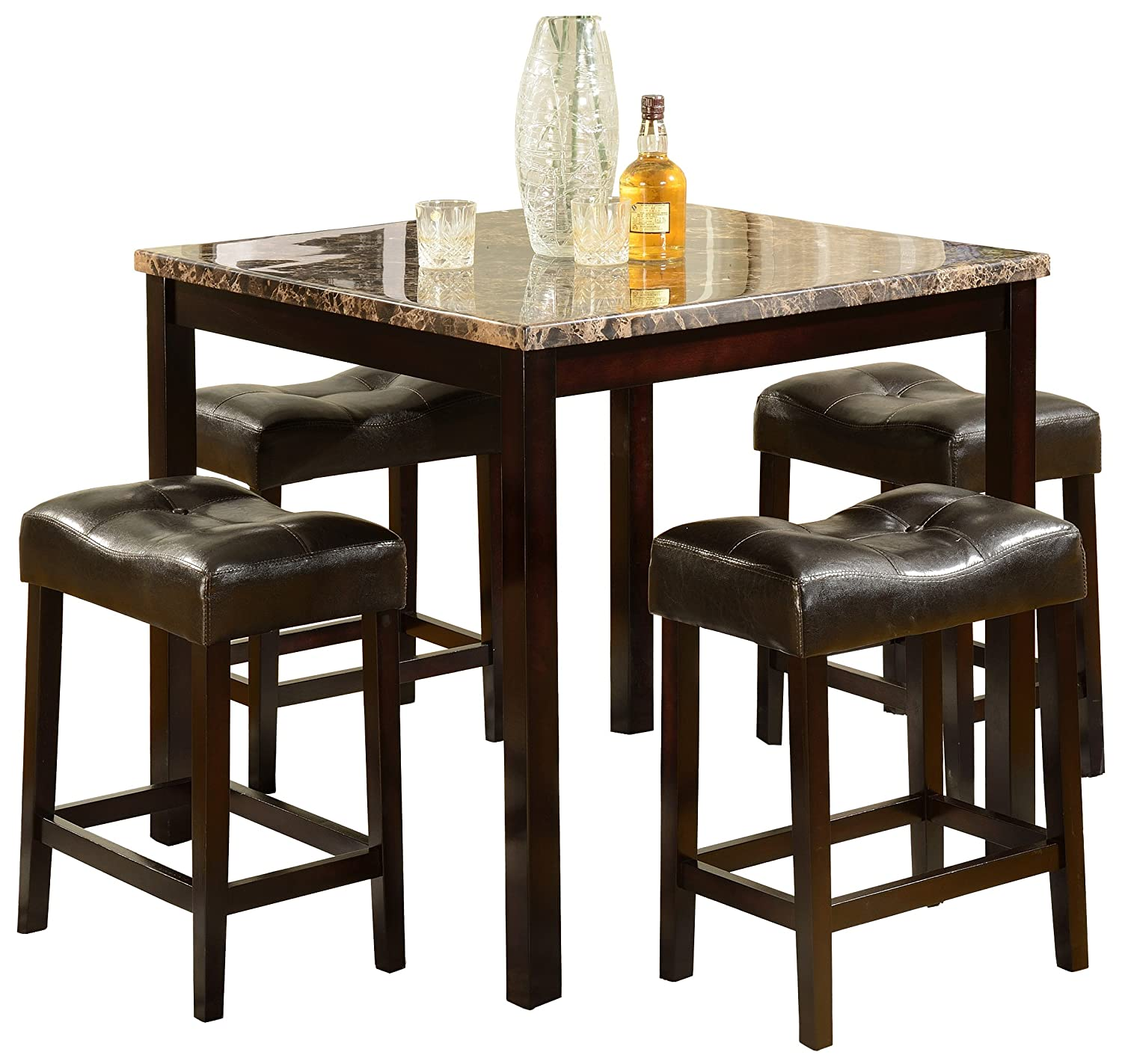 Amazon.com: Crown Mark Kinsey 5 Piece Counter Height Table/Stool: Kitchen U0026  Dining