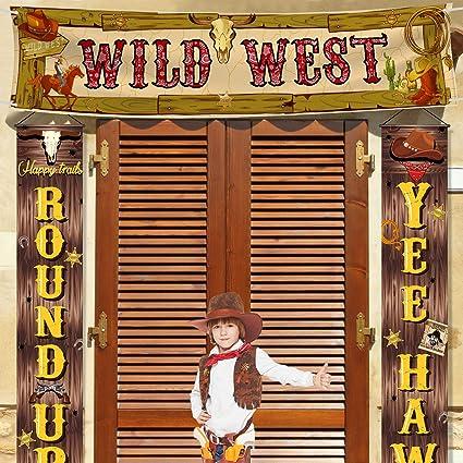 Saloon Scène Setter Wild West Cowboy Parti ville WESTERN BAR Lasso Toile de fond 7.5/'