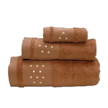 Lunares Toallas De Baño De - Juego de 3 piezas - Toalla de mano, toalla de baño (+ + toalla para la cara (- Marrón W/Beige: Amazon.es: Hogar