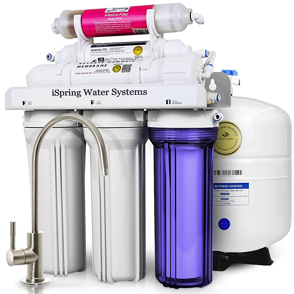 iSpring RCC7AK 6-Stage Under-Sink Reverse Osmosis Drinking Water Filtration System with Alkaline Remineralization Filter - 75 GPD