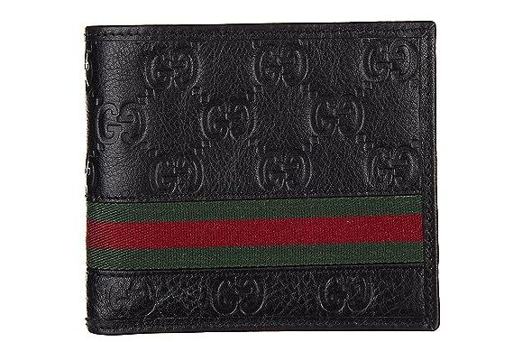 Gucci portafoglio uomo pelle bifold originale guccissima web nero   Amazon.it  Scarpe e borse 9c71445480f9