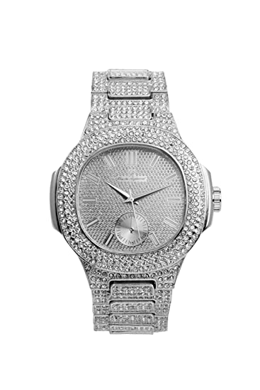 Charles Raymond Bling-ed Out 8475 – Reloj metálico rectangular para hombre