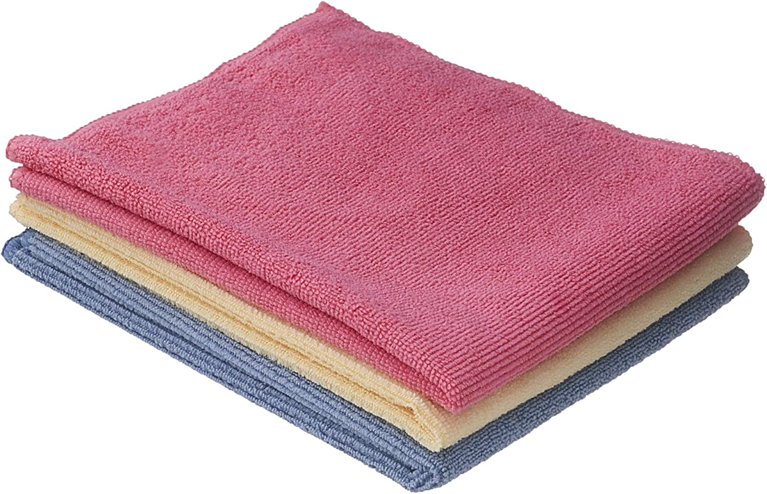 Superio Microfiber Wash Cloth 3-Pack 12x12 Inch, Red Blue and Yellow Micro Fiber Cleaning Cloths, Durable Wash Cloths, Auto Wash, Home Sparkle, All Purpose Cleaner Towels
