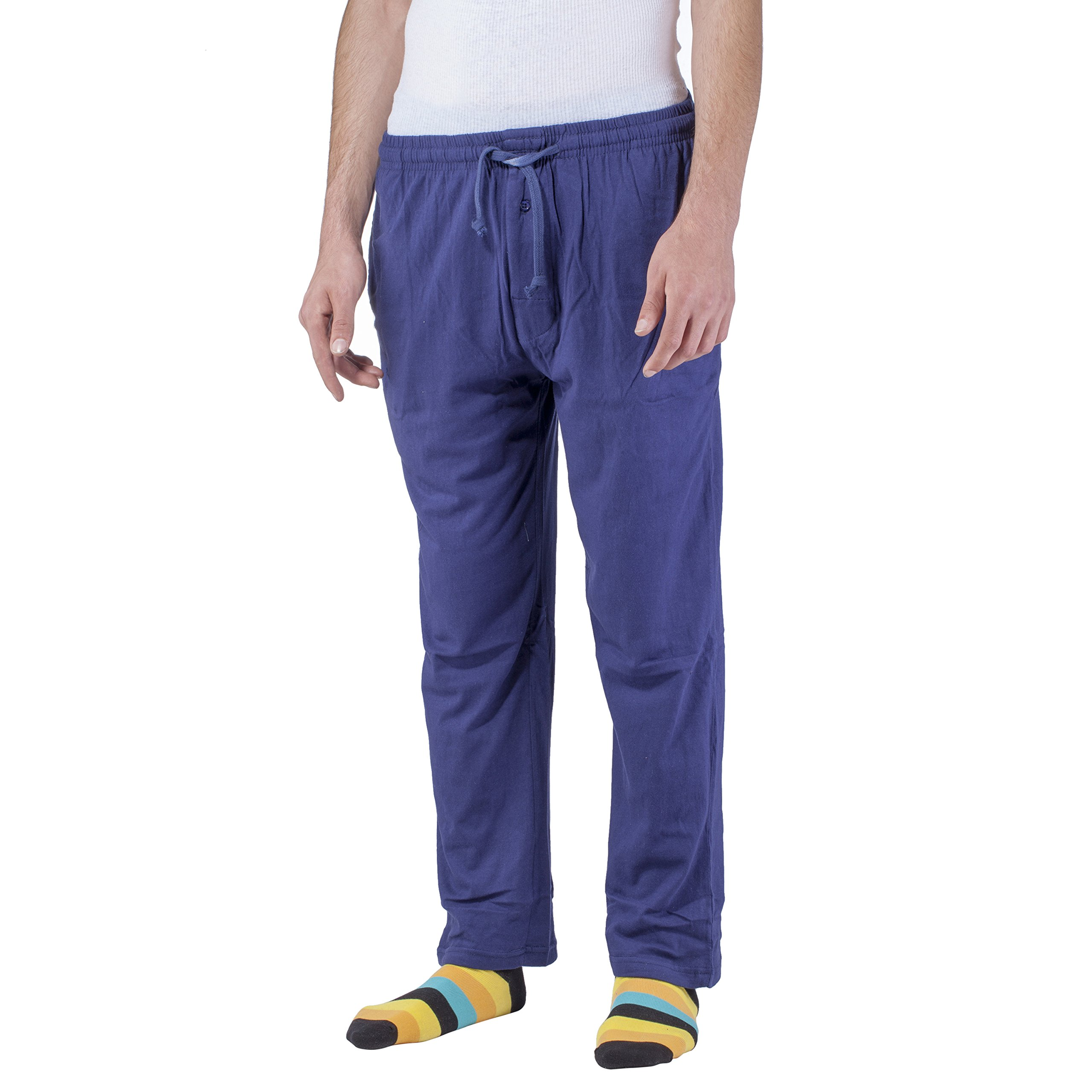 Arctic Pole Men's Jersey Knit Pajama/Lounge Pants - 100% Cotton - Side Pockets - Adjustable Waist with Drawstring - Navy -Medium