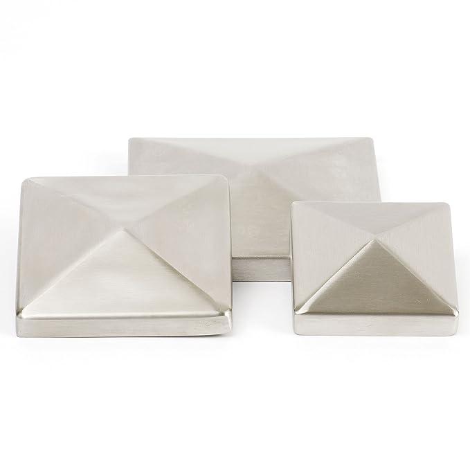 V2A//1.4301 Edelstahl Pyramidenkappen H/öhe 10 mm geschliffen Ecken verschwei/ßt Innenma/ß 90 mm x 90 mm