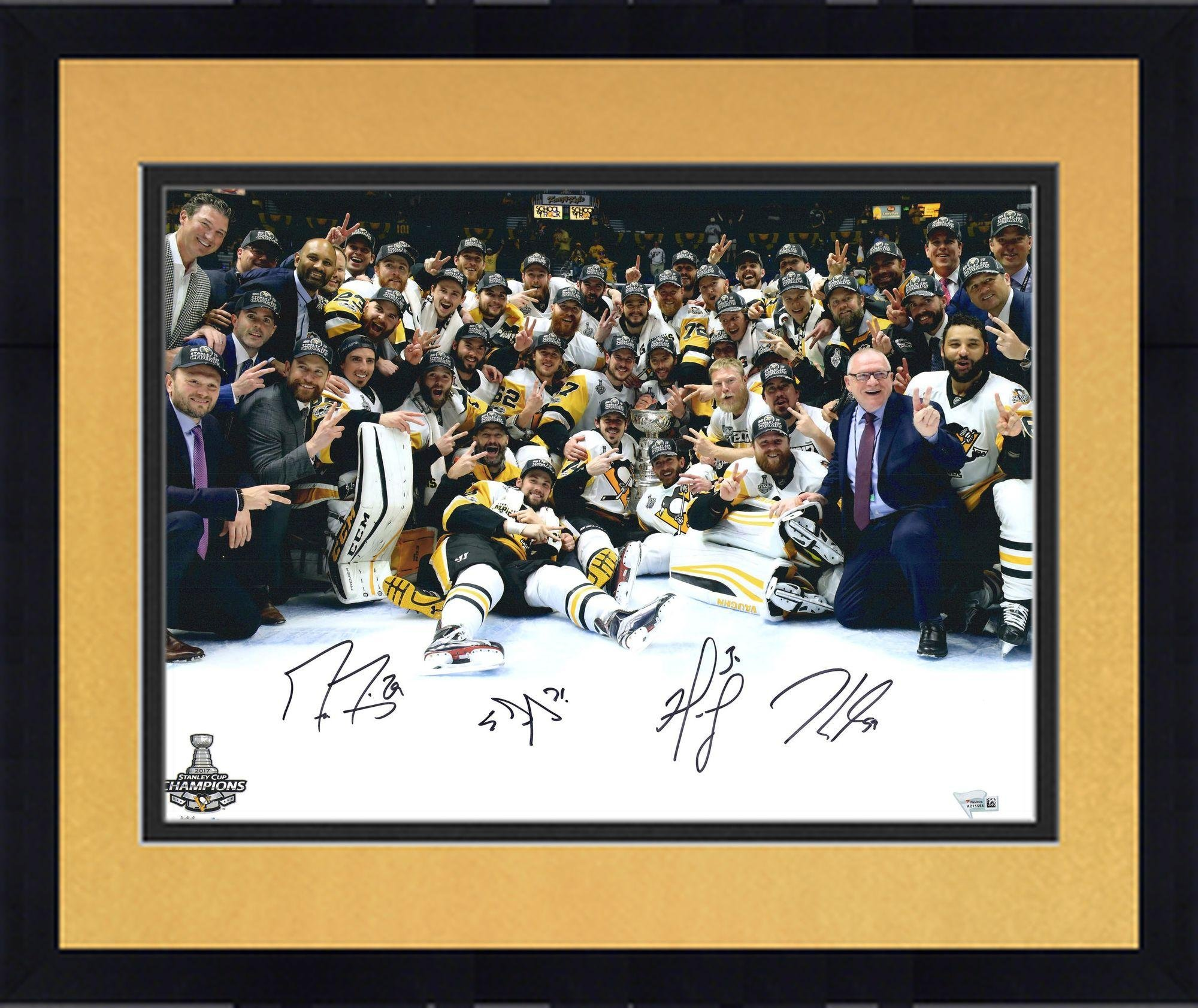 "Framed Marc Andre Fleury, Jake Guentzel, Evgeni Malkin & Matt Murray Pittsburgh Penguins 2017 Stanley Cup Champions Autographed 16"" x 20"" Team Celebration Photograph Fanatics Authentic Certified"