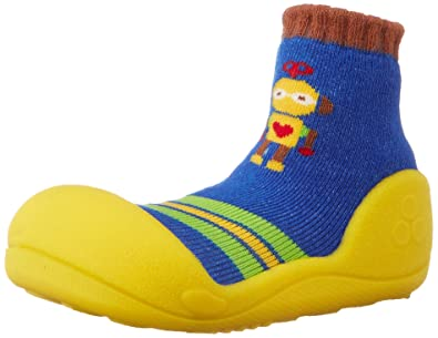 5938b7ff64f03 First Walking Shoes with Socks for Baby Boys Girls(Robot Yellow, Small)