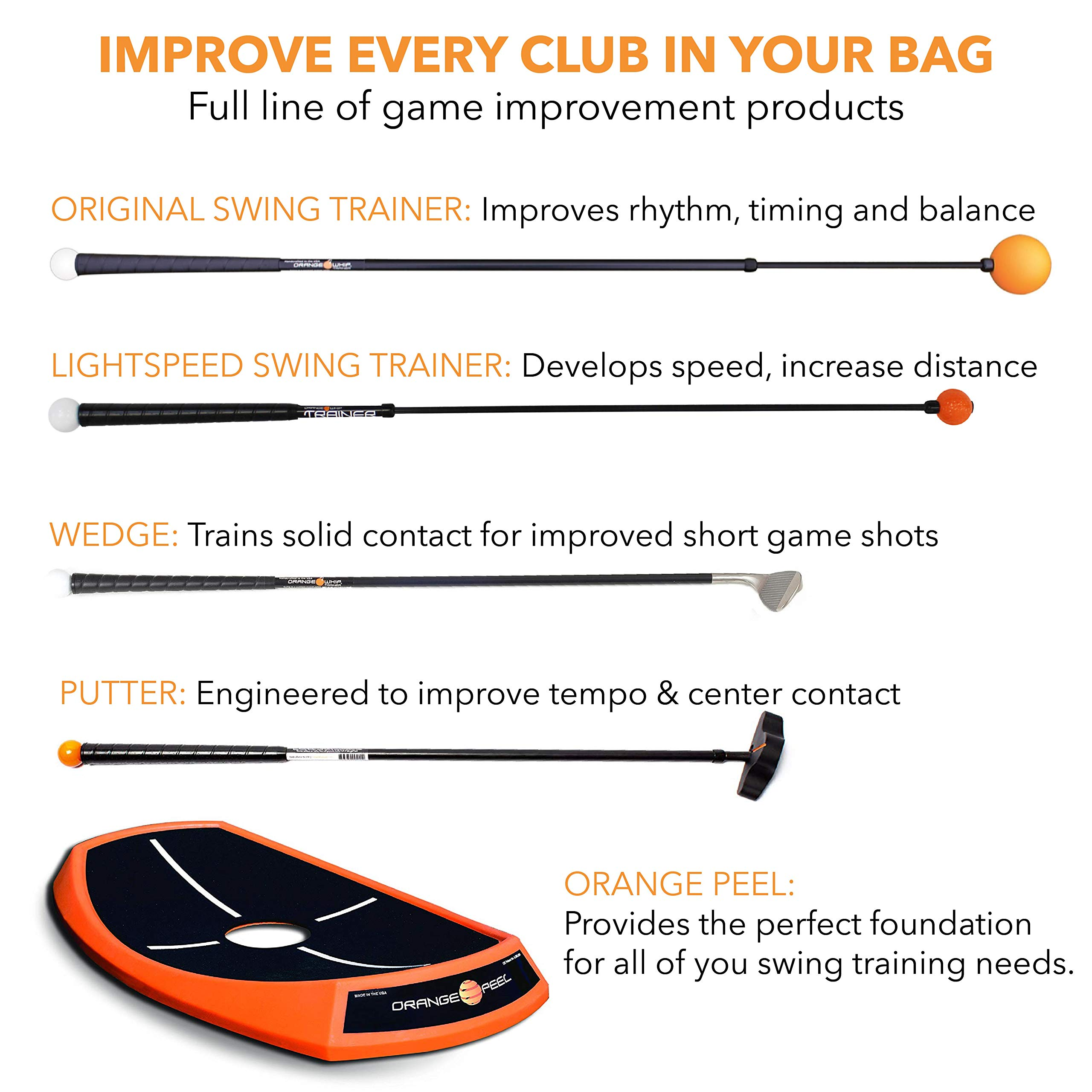 Orange Whip Midsize Golf Swing Trainer Aid for Improved Rhythm, Flexibility, Balance, Tempo, and Strength - 43.5'' by Orange Whip