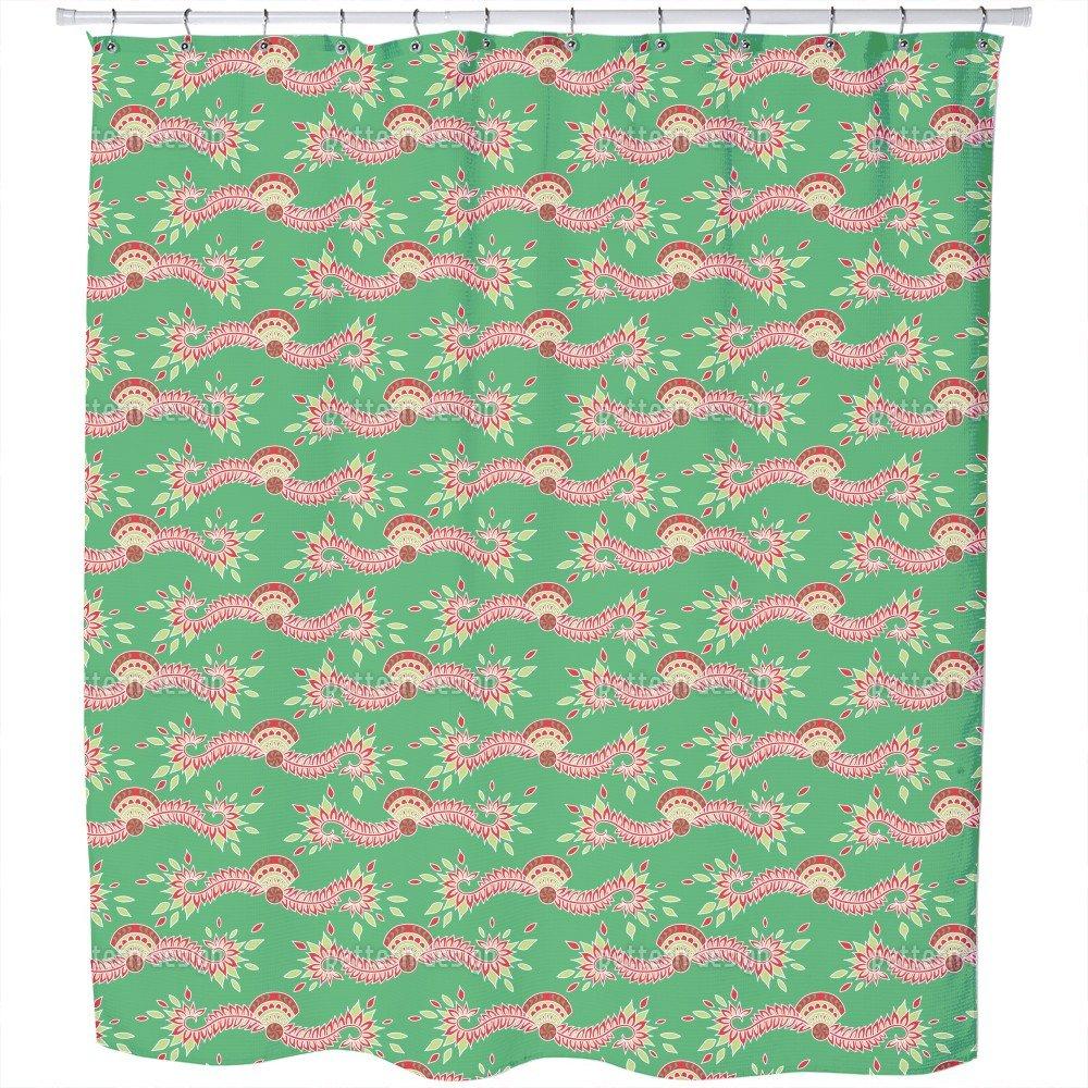 Uneekee Persia Green Shower Curtain: Large Waterproof Luxurious Bathroom Design Woven Fabric