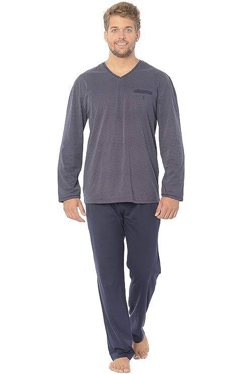 El Búho Nocturno - Pijama de Caballero | Pijama de Hombre de Manga Larga Moderno y Casual, de Entretiempo, Muy cómodo | Ropa de Dormir para Hombre - Punto, 100% algodón, o 95% alg. 5% Elastano
