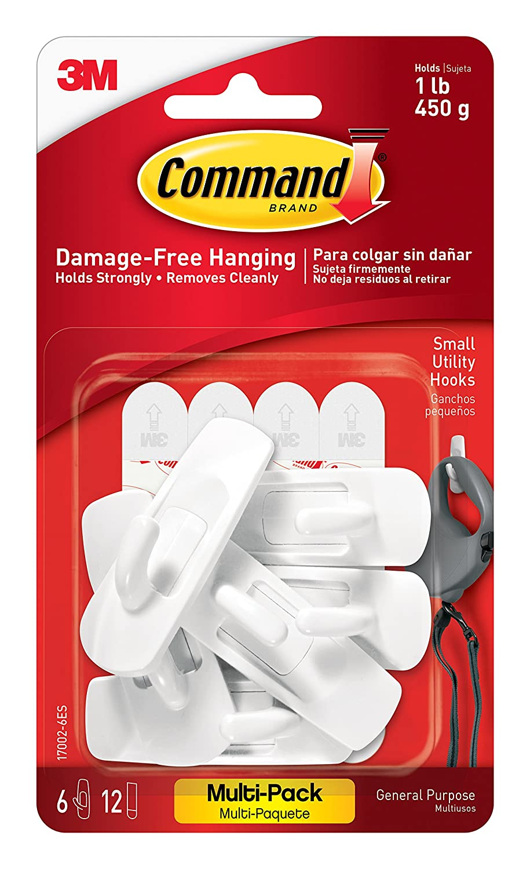 Command Small Utility Hooks White 6 Hooks 17002 6ES