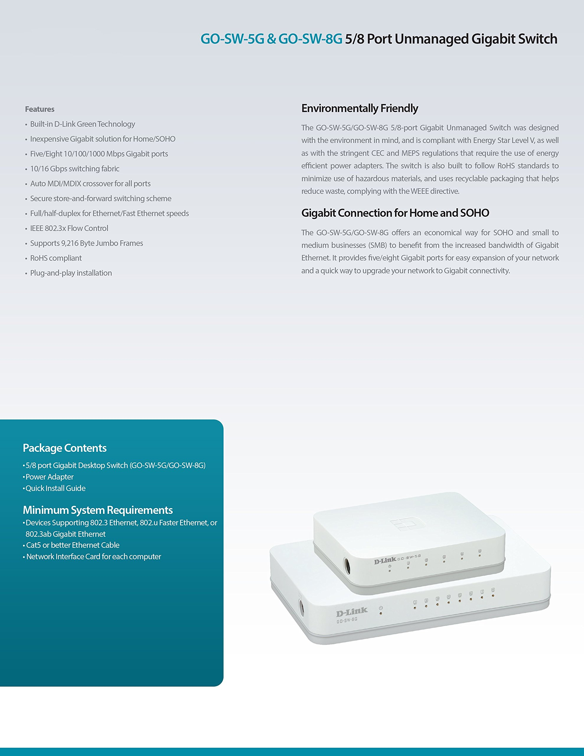 D-Link 5-Port Unmanaged Gigabit Switch (GO-SW-5G) by D-Link (Image #7)