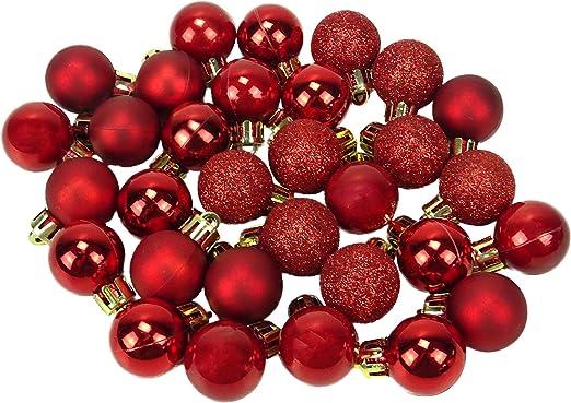 32 x 25 mm Mini bolas de Navidad - Rojo - Decoraciones para árboles de Navidad: Amazon.es: Hogar
