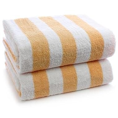 INDULGE Large Beach and Pool Towel, Cabana Stripe, 100% Turkish Cotton (30x60 inches, Salmon, Set of 2)