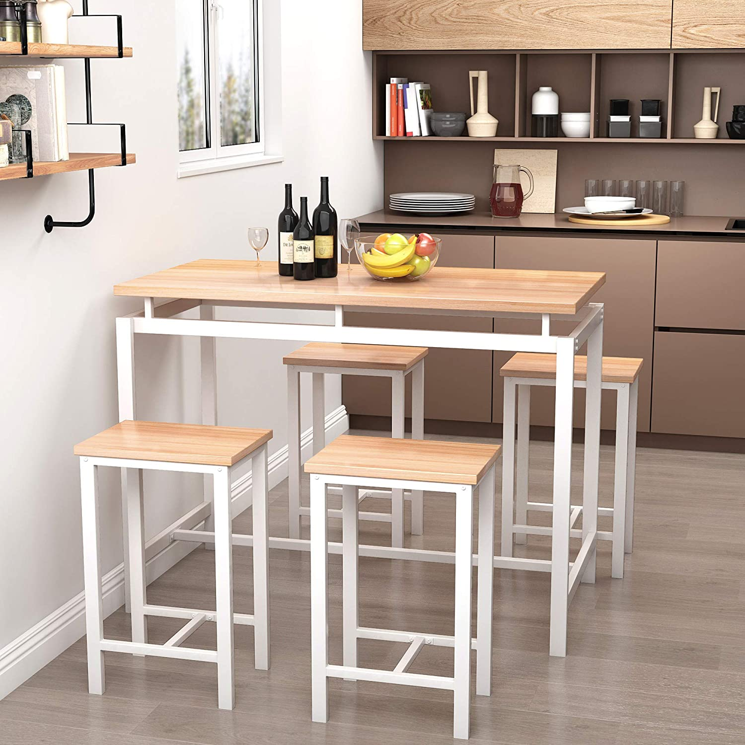 Recaceik 12 PCS Dining Table Set, Modern Kitchen Table and Chairs for 12,  Wood Pub Bar Table Set Perfect for Breakfast Nook, Small Space Living Room