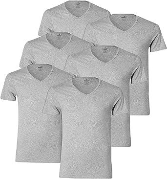 PUMA Hombre Camiseta Básica Cuello en V - 3x2 Camisetas (6er Pack ...