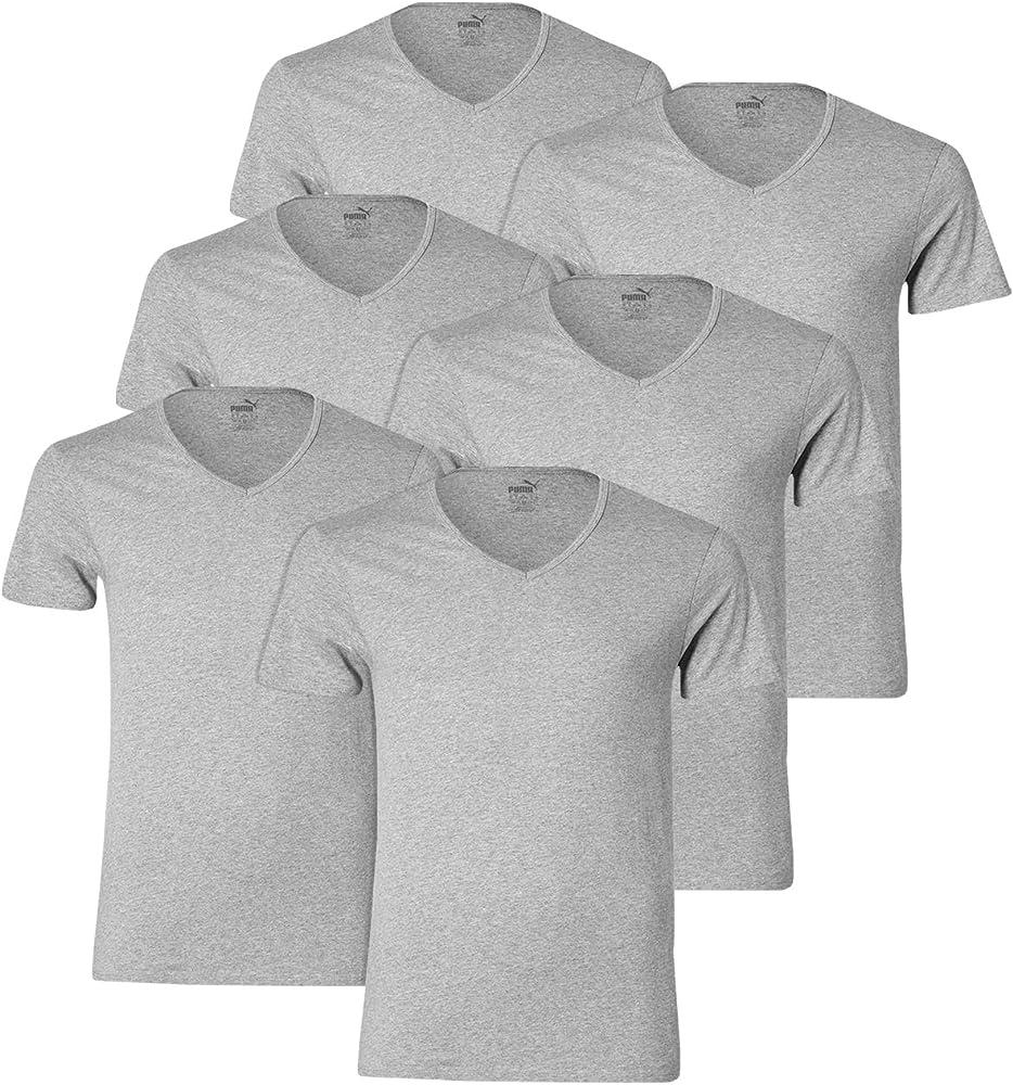 PUMA Cuello de Pico Camisetas 562002001 6er Pack - Medio Gris Mixto(758), L: Amazon.es: Deportes y aire libre