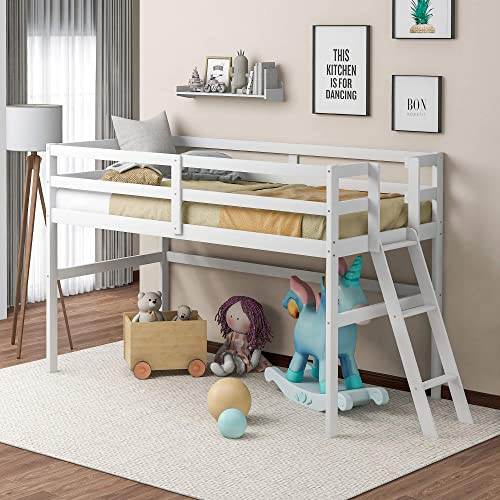 Merax Wood Twin Loft Bed Low Loft Bed Frame