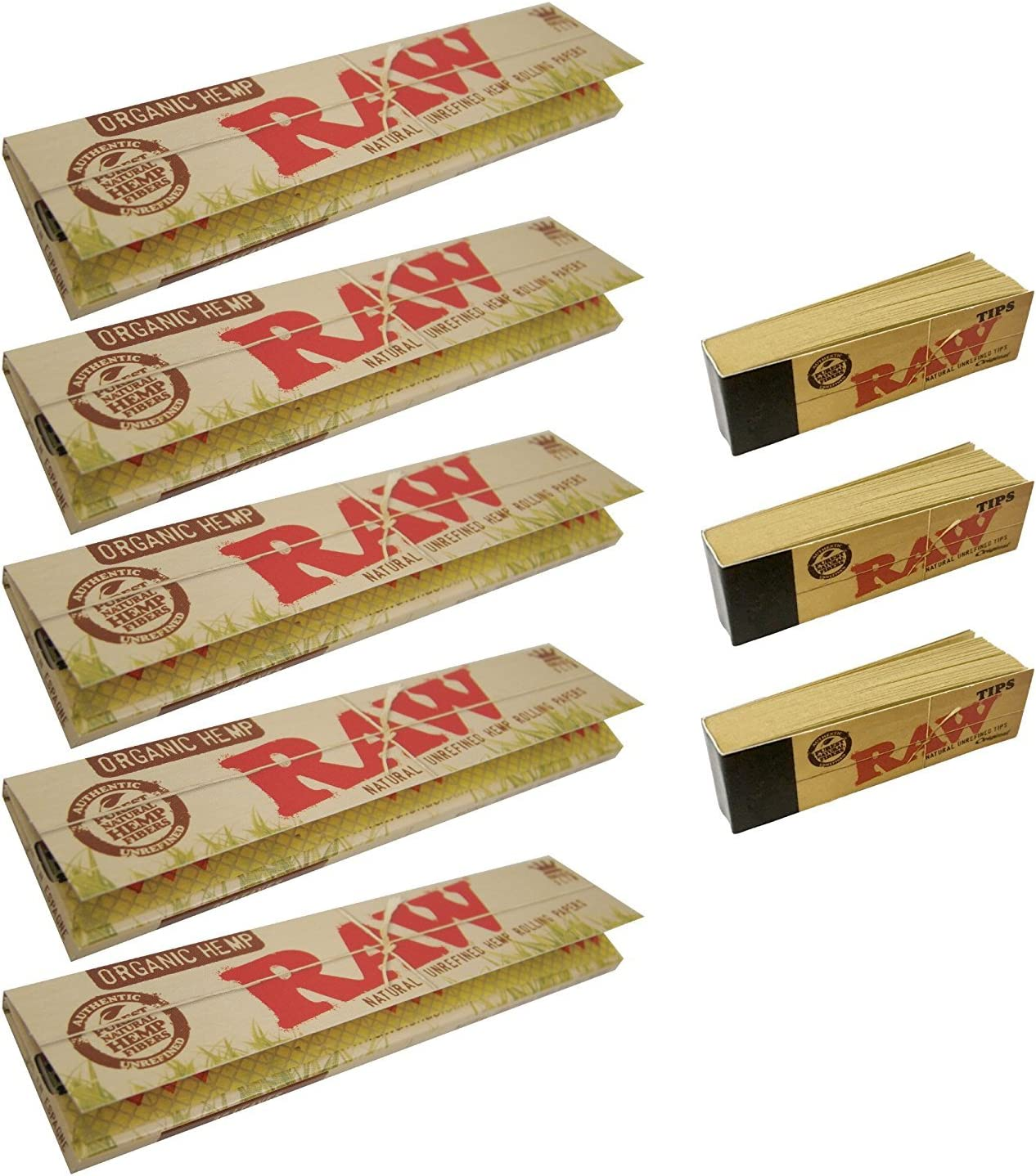 Papel de liar de Raw, tamaño «king», 5 paquetes de pape de liar y 3 libritos de puntas