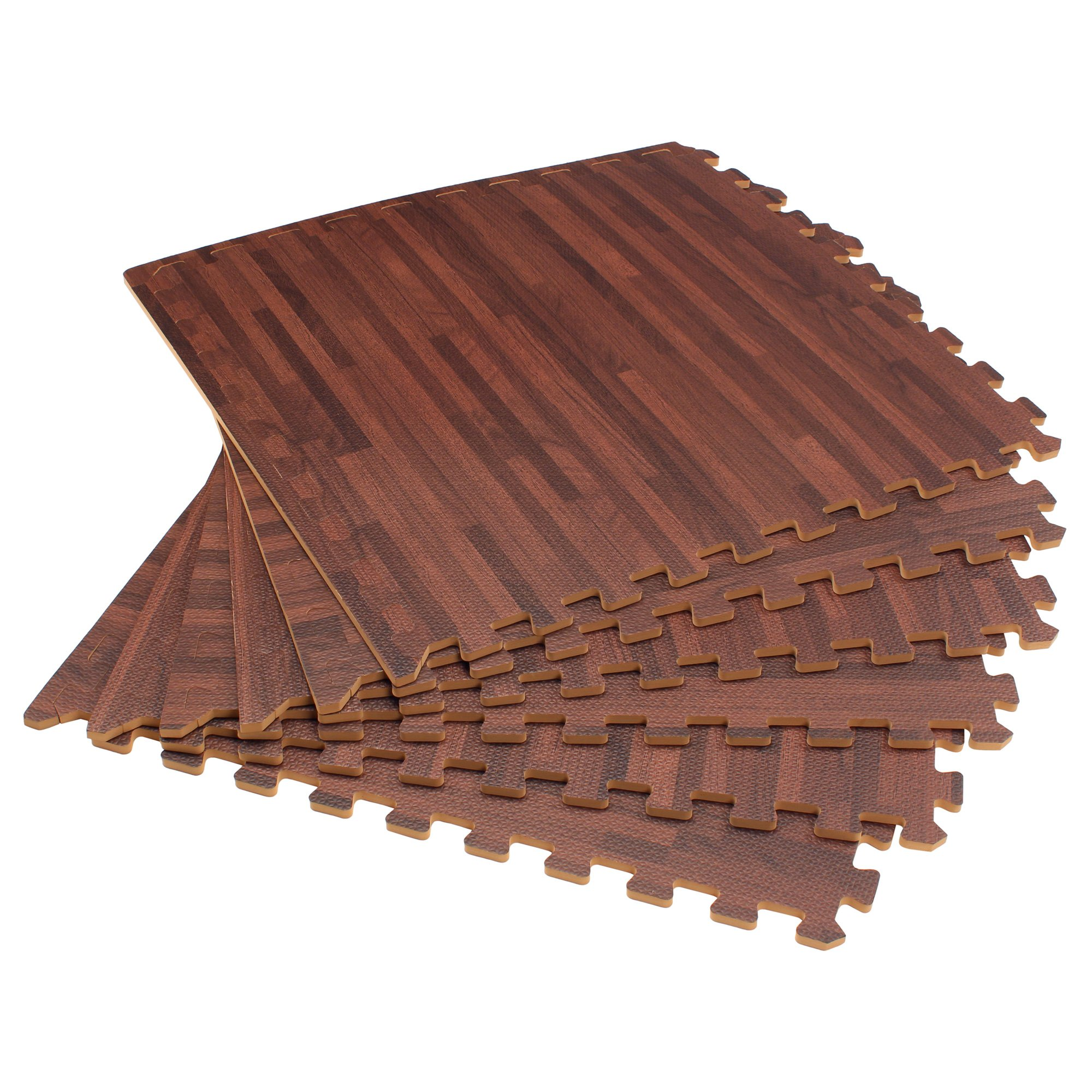 Forest Floor 3/8'' Thick Printed Wood Grain Interlocking Foam Floor Mats, 16 Sq Ft (4 Tiles), Cherry by Forest Floor (Image #1)