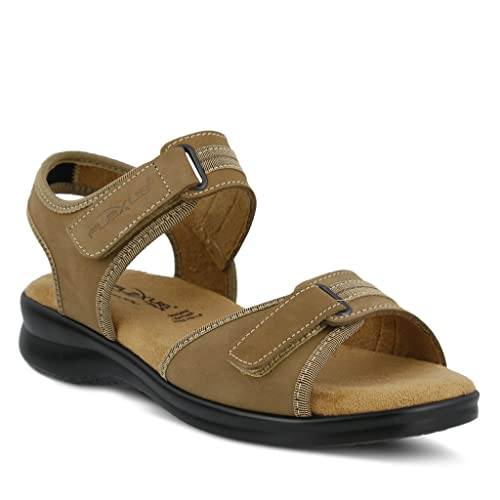 Womens Nubuck Ankle Strap Sandal Womens Flexus Danila Sandal Color Tan