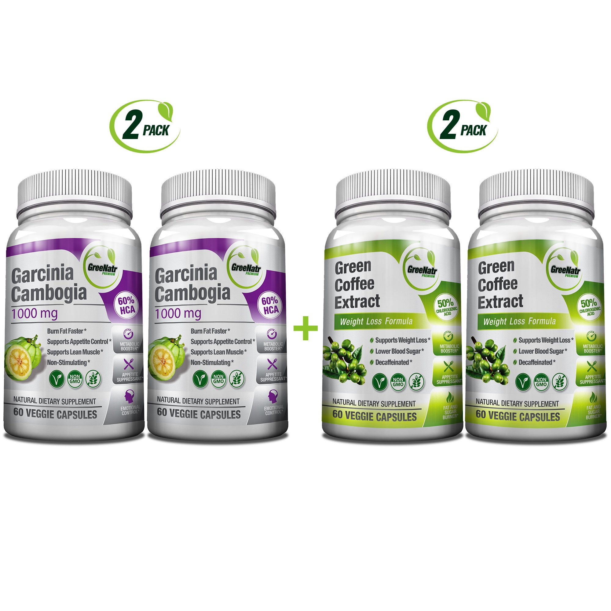 All-in-One Weight Diet Loss Pills & Appetite Suppressant Bundle w/Pure Green Coffee Bean Extract + Garcinia Cambogia Extract | Blocks Fat, Sugar, Carbs - 240 Veggie Capsules - Gluten Free & Non GMO by GreeNatr