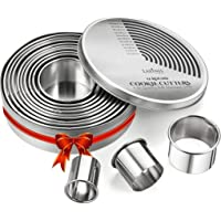 Round Cookie Biscuit Cutter Set, 12 Graduated Circle Pastry Cutters, Heavy Duty Commercial Grade 18/8 304 Stainless…