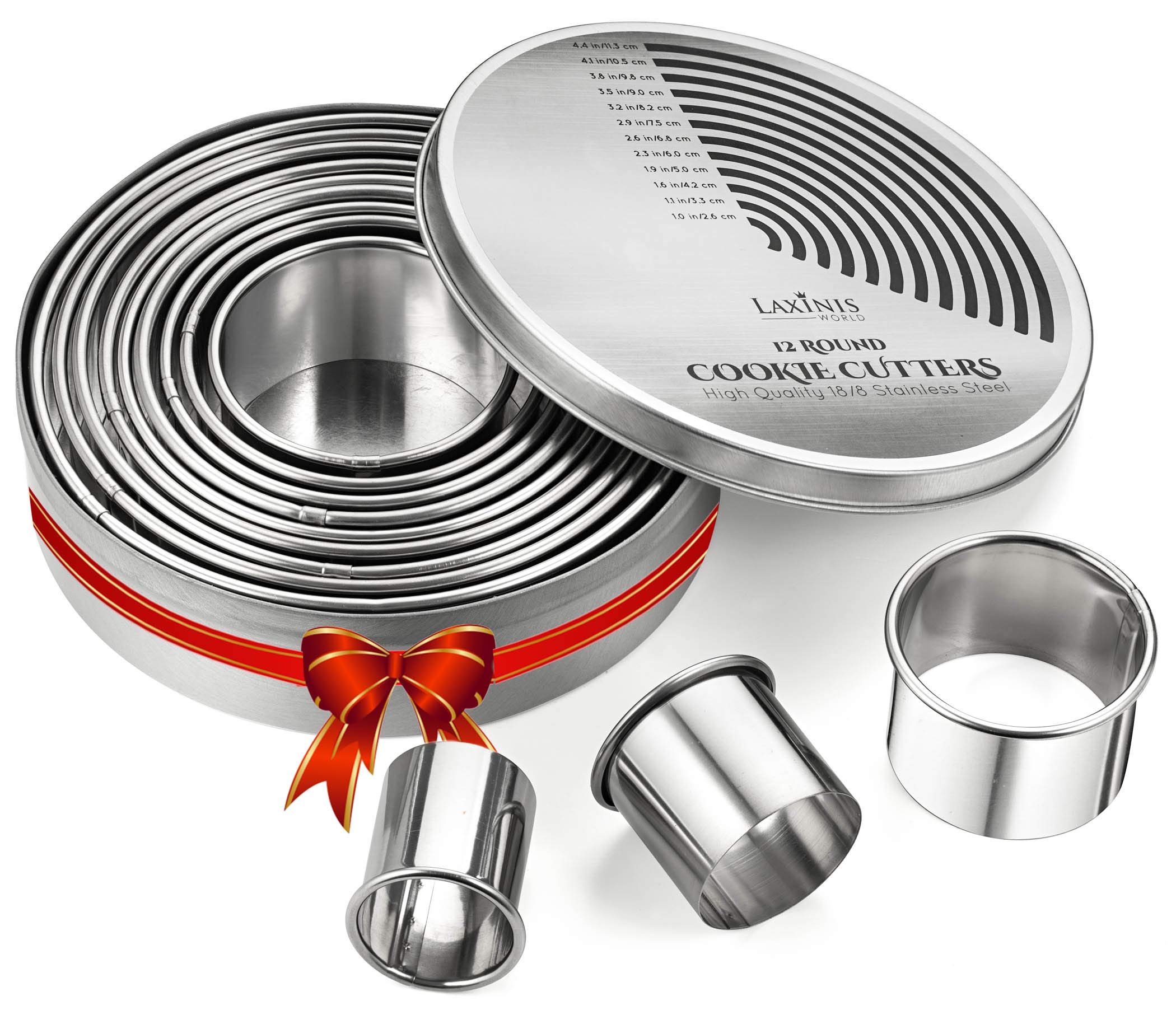 Round Cookie Biscuit Cutter Set, 12 Graduated Circle Pastry Cutters, Heavy Duty Commercial Grade 18/8 304 Stainless Steel Cookie And Dough Cutters