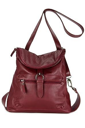 7763e83fe8035 Echt Leder Rucksack Backpack London Handtasche Umhängetasche Rucksacktasche  bordeaux - 28x26x10 cm (