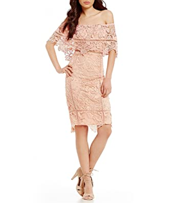 dd0bb1220e9 Gianni Bini Leah Off-the-Shoulder Popover Lace Sheath Dress Blossom Size XS  at Amazon Women s Clothing store
