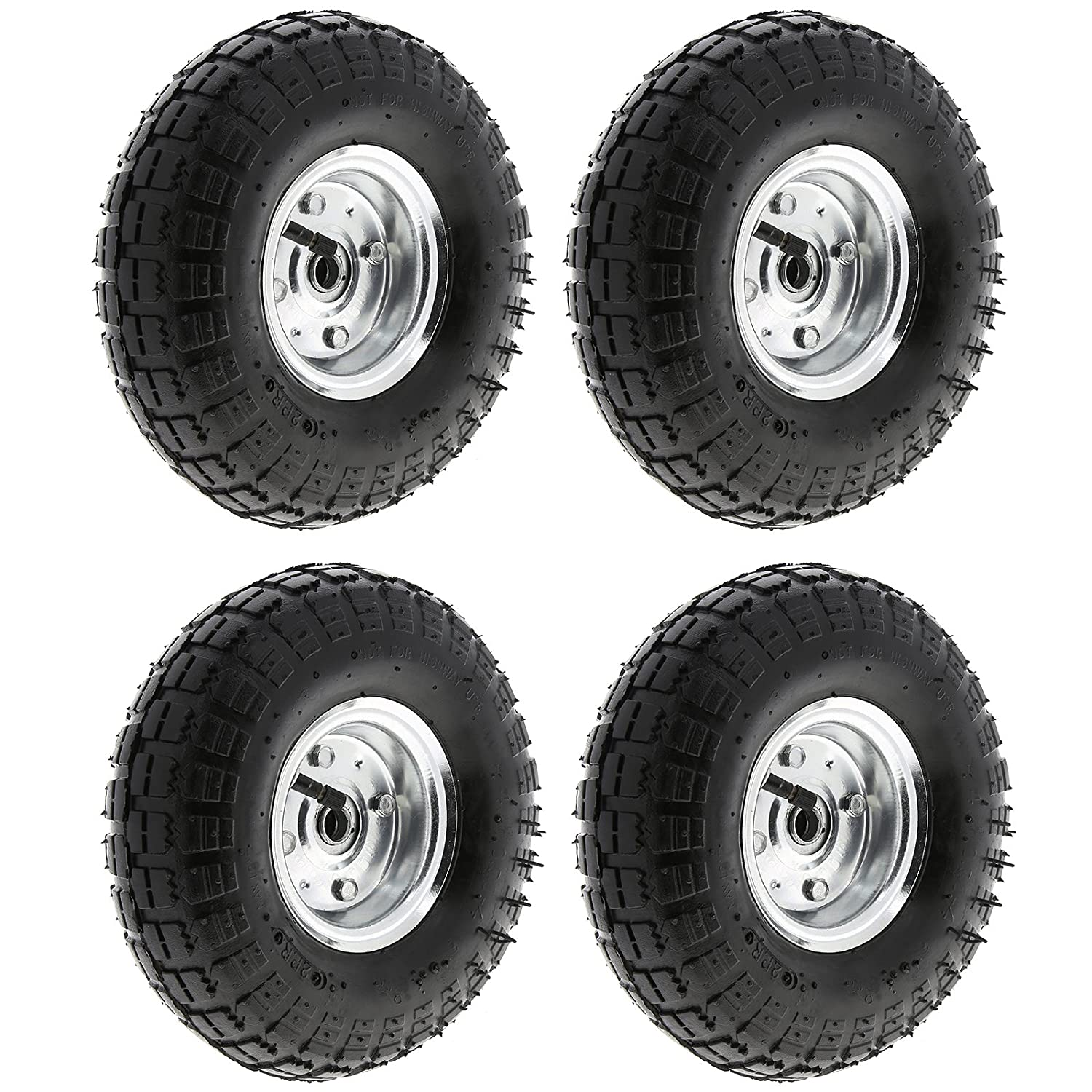MasterPart Pneumatic 10' Sack Truck Wheelbarrow Tyres Trolley Wheel Cart Tyre Wheels - 4 Pack