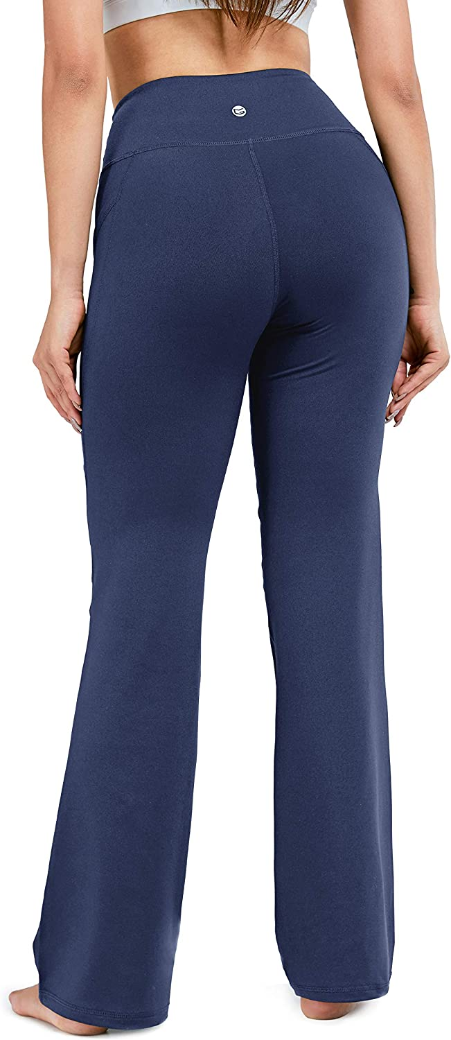 28//30//32//34 Inseam Womens Bootcut Yoga Pants Long Bootleg High-Waisted Flare Pants with Pockets