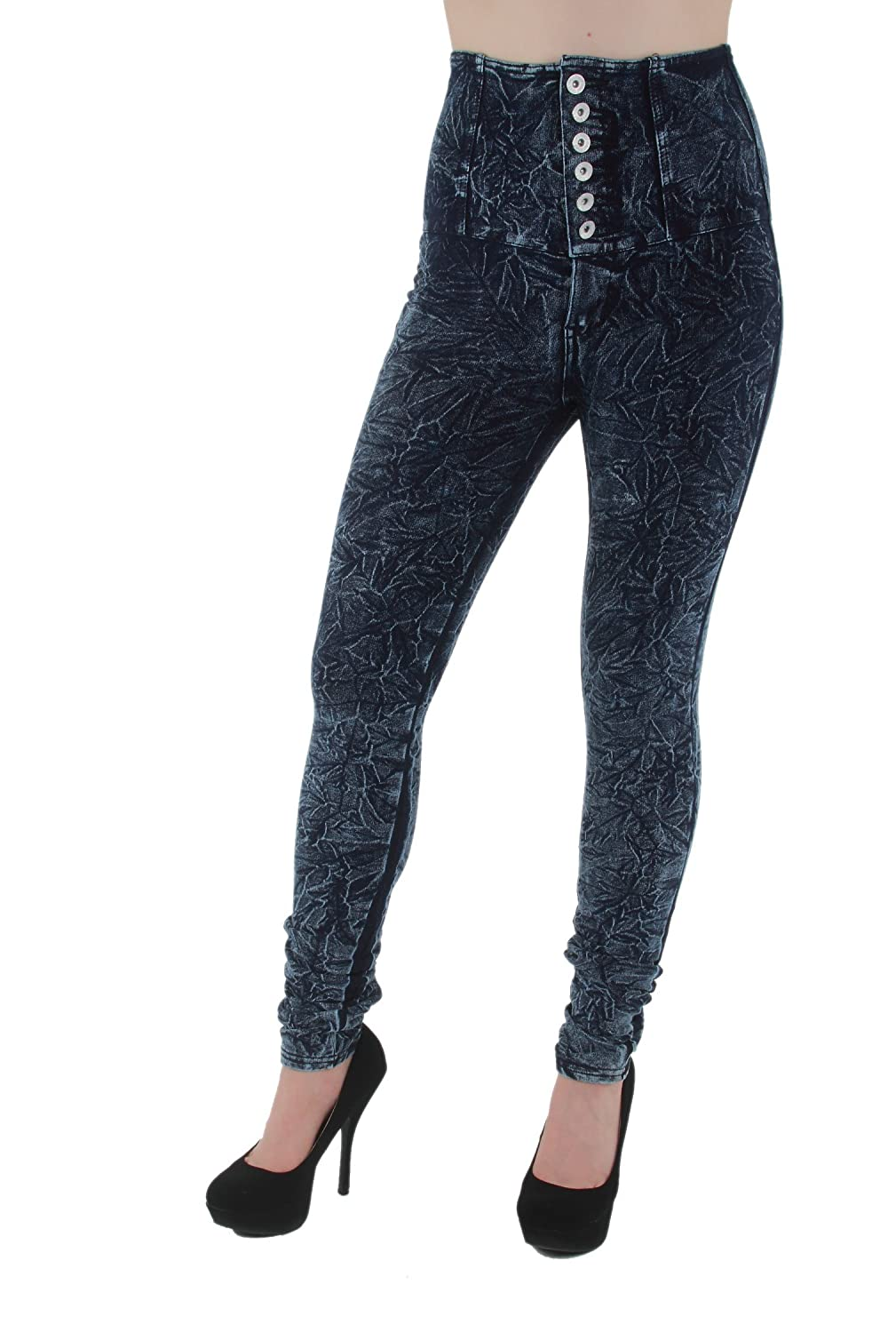 12113 – LAVO Jeans - Stretch High-Waist Acid Washed Skinny Pants