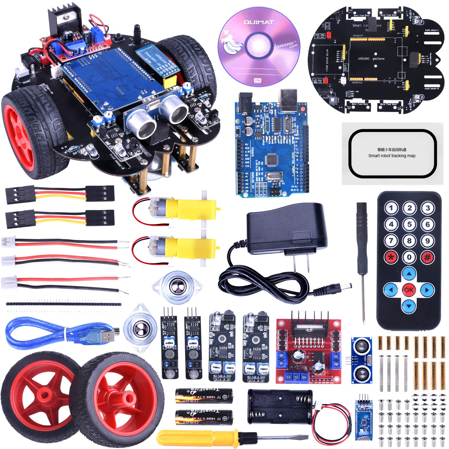 Quimat Smart Robot Car Kit with Two-Wheel Drives,UNOR3 Board,Tracking Module,Ultrasonic Sensor and Bluetooth Remote Control, Intelligent and Educational Car for Teens and Adults (Red) by Quimat