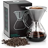 Pour Over Coffee Dripper - Coffee Gator Paperless Pour Over Coffee Maker - Stainless Steel Filter and BPA-Free Glass Carafe - Flavor Unlocking Hand Drip Brewer - 27oz