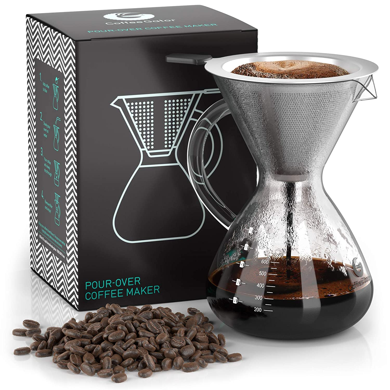 Pour Over Coffee Dripper – Coffee Gator Paperless Pour Over Coffee Maker – Stainless Steel Filter and BPA-Free Glass Carafe – Flavor Unlocking Hand Drip Brewer – 27oz