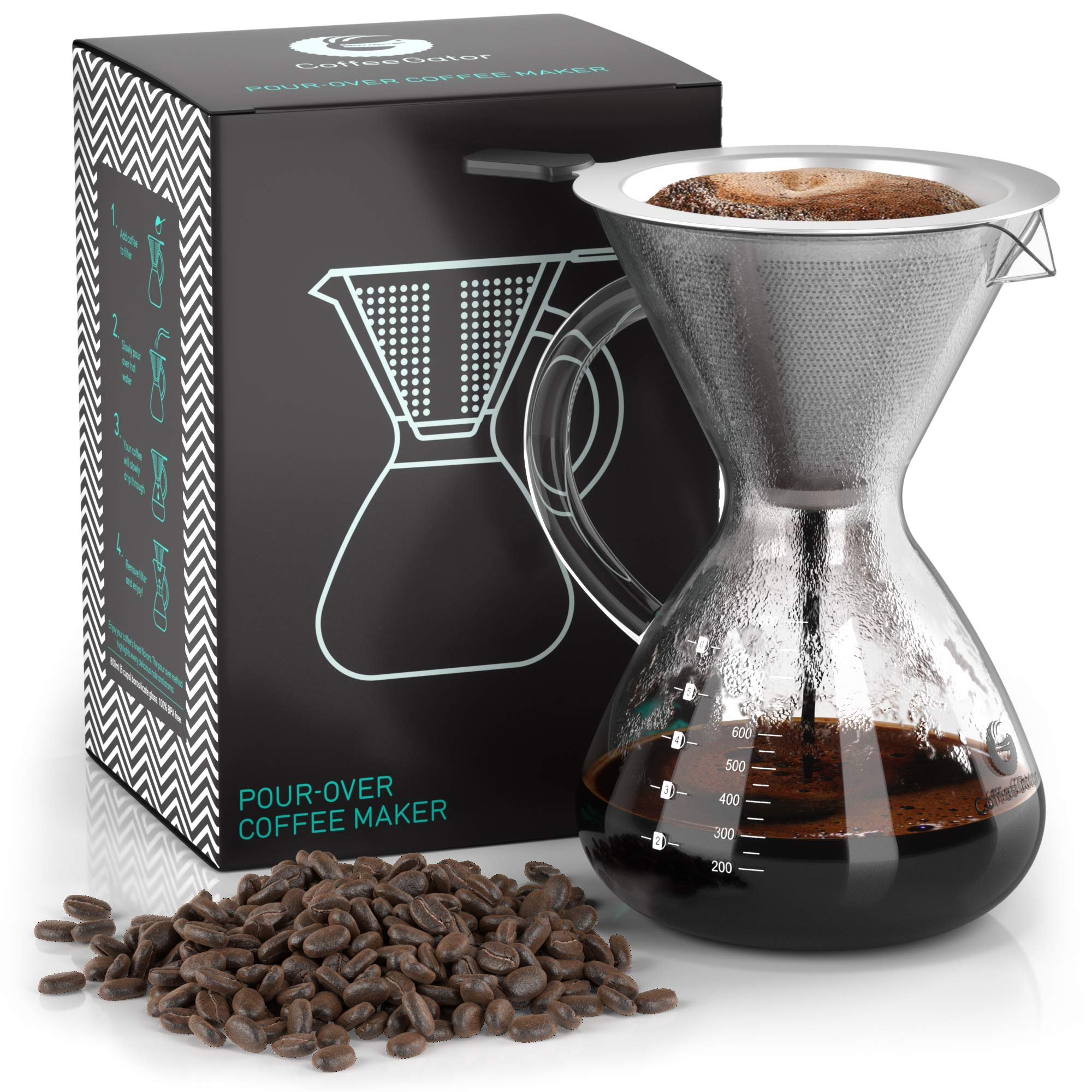 Coffee Gator Pour Over Brewer - Unlock More Flavor with a Paperless Stainless Steel Filter and BPA-Free Glass Carafe - Hand-Drip Coffee Maker - 27 Ounce by Coffee Gator