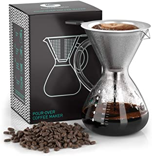 Coffee Gator Pour Over Brewer – Unlock Flavor with Paperless Filter and Carafe – 27floz