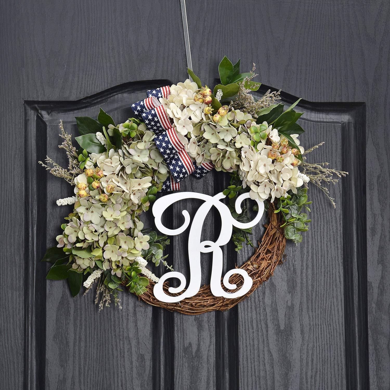 QUNWREATH Handmade Floral 14 inch Green,White Hydrangea Series,Leaf,Berry,Flag Bow,R Letter Fall Wreath,Wreath for Front Door,Rustic Wreath,Farmhouse Wreath,Light up Wreath,Everyday Wreath,QUNW14 by QUNWREATH