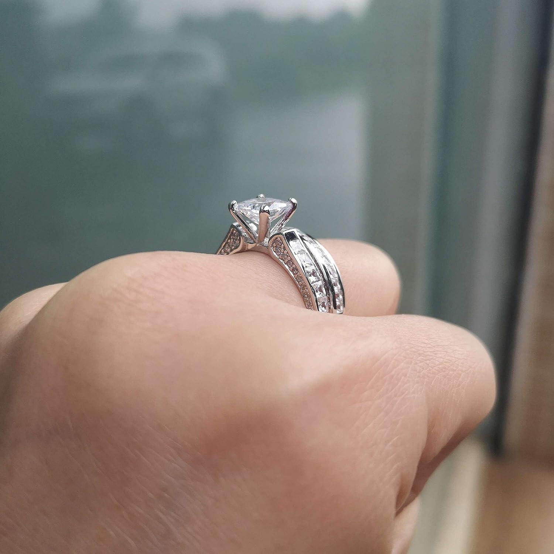 Wuziwen Wedding Rings For Women Cubic Zirconia Cz Sterling Silver Vintage Engagement Ring Bridal Set Women Wedding Engagement
